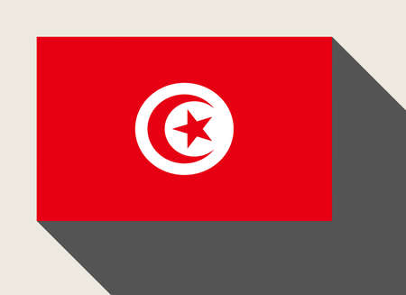 tunisia: Tunisia flag in flat web design style. Stock Photo