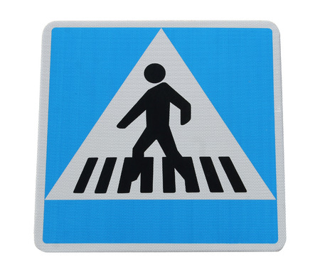 pedestrian crossing: Pedestrian crossing sign isolated on a white background.