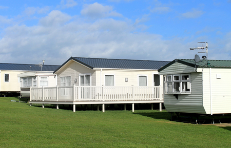 Scenic view of a caravan trailer park in Summer, Scarborough, England.