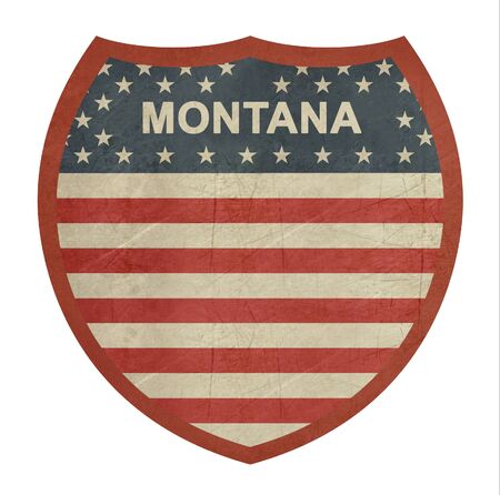 roadtrip: Grunge Montana American interstate highway sign isolated on a white background.
