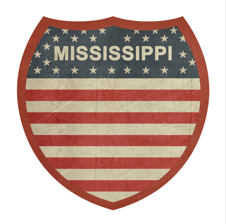 single color image: Grunge Mississippi American interstate highway sign isolated on a white background.