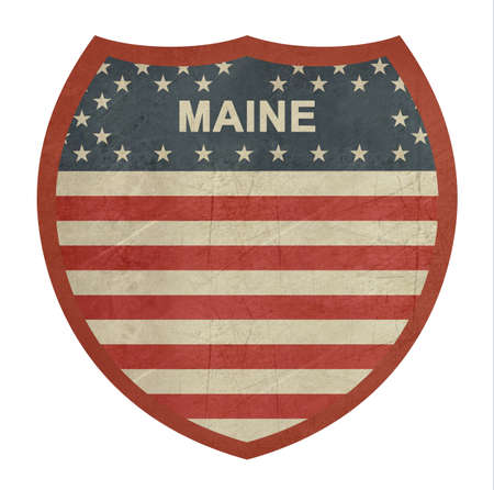 single color image: Grunge Maine American interstate highway sign isolated on a white background.