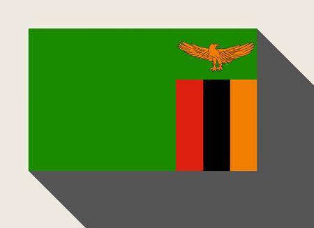 zambia: Zambia flag in flat web design style.