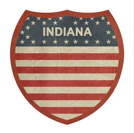 roadtrip: Grunge Indiana American interstate highway sign isolated on a white background. Stock Photo