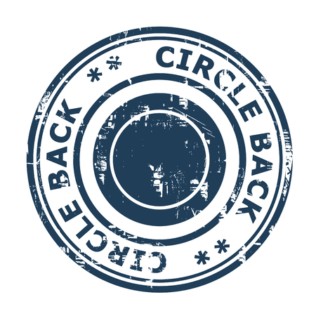 ethos: Circle back business concept stamp isolated on a white background.