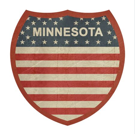 roadtrip: Grunge Minnesota American interstate highway sign isolated on a white background.