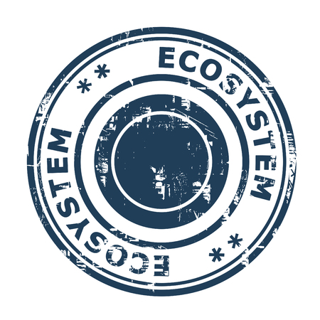 ecosistema: Ecosistemas del concepto de negocio sello de goma aislado en un fondo blanco.
