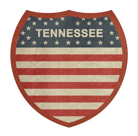 roadtrip: Grunge Tennessee American interstate highway sign isolated on a white background.