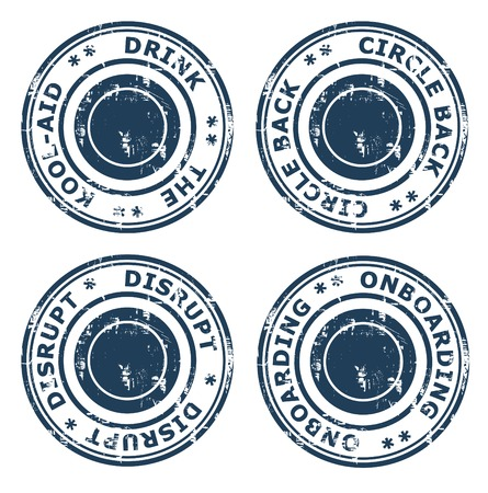 ethos: Set of different business concept stamps isolated on a white background.