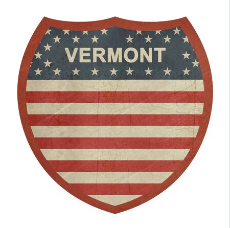 single color image: Grunge Vermont American interstate highway sign isolated on a white background.