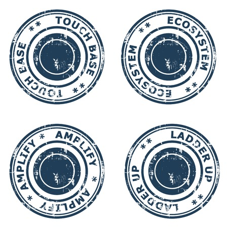 touch base: Set business concept rubber stamps isolated on a white background.