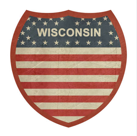 roadtrip: Grunge Wisconsin American interstate highway sign isolated on a white background.
