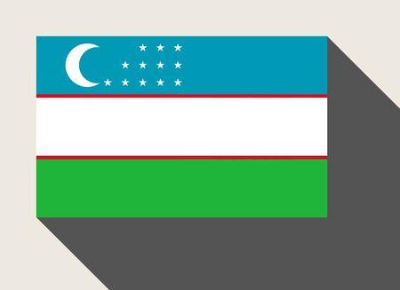 uzbekistan: Uzbekistan flag in flat web design style. Stock Photo