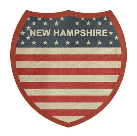 roadtrip: Grunge New Hampshire American interstate highway sign isolated on a white background.