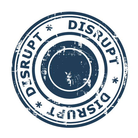 ethos: Disrupt business concept stamp isolated on a white background.