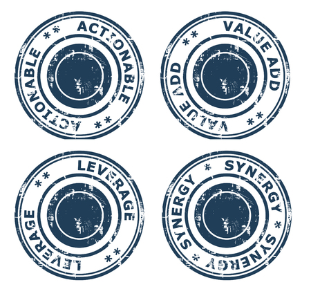 value add: Set of four business concept stamps isolated on a white background.