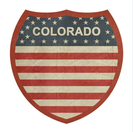 colorado flag: Grunge Colorado American interstate highway sign isolated on a white background.