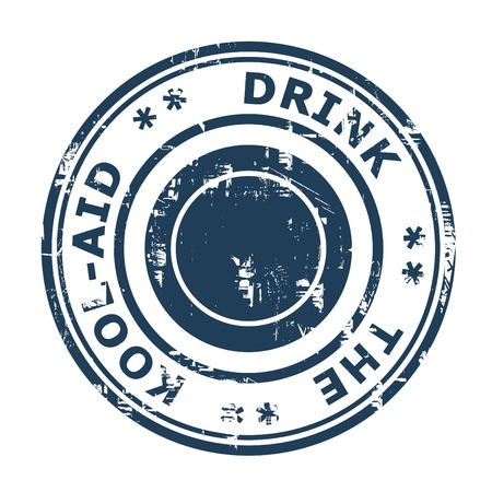 ethos: Drink the Cool-Aid business concept stamp isolated on a white background. Stock Photo