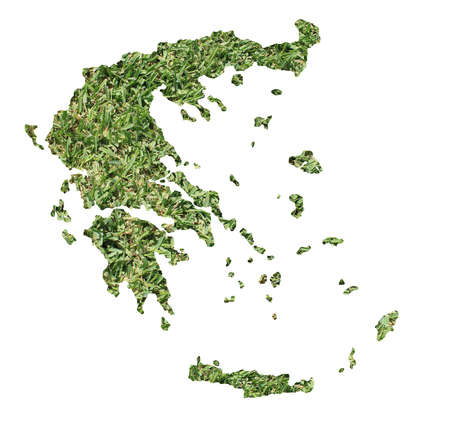no people: Map of Bosnia and Herzegovina filled with green grass, environmental and ecological concept. Stock Photo