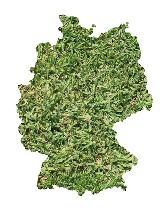 grass area: Map of Germany filled with green grass, environmental and ecological concept.