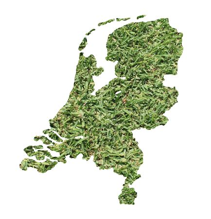 national border: Map of Netherlands filled with green grass, environmental and ecological concept.