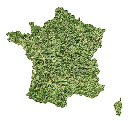 french countryside: Map of France filled with green grass, environmental and ecological concept. Stock Photo