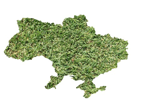 rural area: Map of Ukraine filled with green grass, environmental and ecological concept. Stock Photo