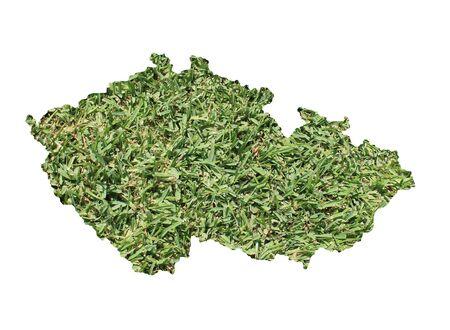 Mappa della Repubblica Ceca riempito con erba verde, ambientale e concetto ecologico.