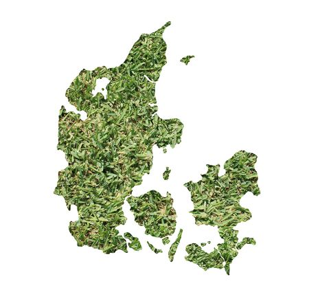 rural area: Map of Denmark filled with green grass, environmental and ecological concept.