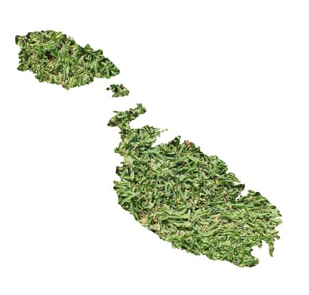 no people: Map of Malta filled with green grass, environmental and ecological concept. Stock Photo