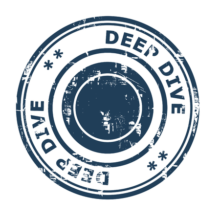 ethos: Deep Dive business concept rubber stamp isolated on a white background.