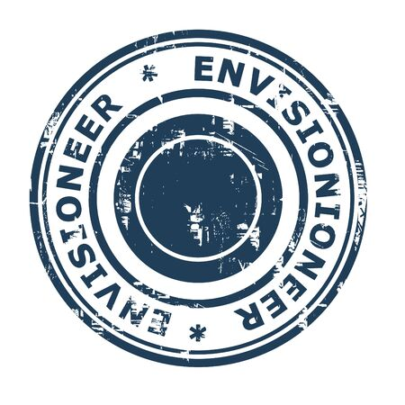 ethos: Envisionioneer business concept rubber stamp isolated on a white background.