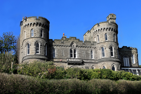 turrets: Historic English house with castle turrets, Scarborough, England.