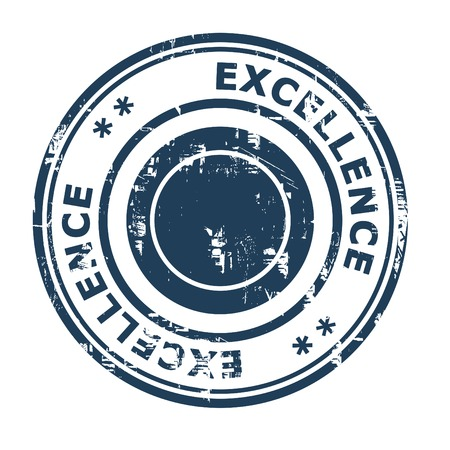 ethos: Excellence business concept rubber stamp isolated on a white background.