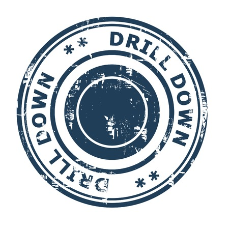 ethos: Drill Down business concept rubber stamp isolated on a white background. Stock Photo