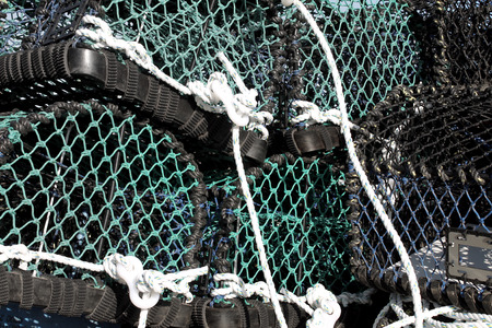 lobster pot: Stack of lobster pots, Scarborough, England.