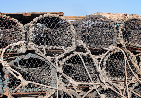 lobster pot: Stack of old lobster pots, Scarborough, England. Stock Photo