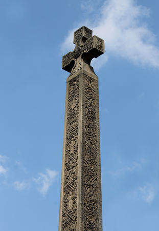 celtic cross: Medieval Celtic Cross, Whitby Abbey, North Yorkshire, England. Stock Photo