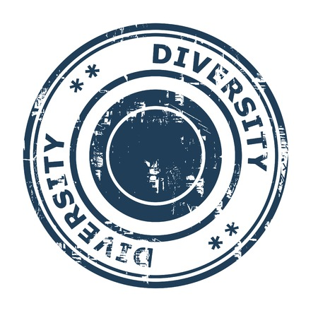 ethos: Diversity business concept rubber stamp isolated on a white background.