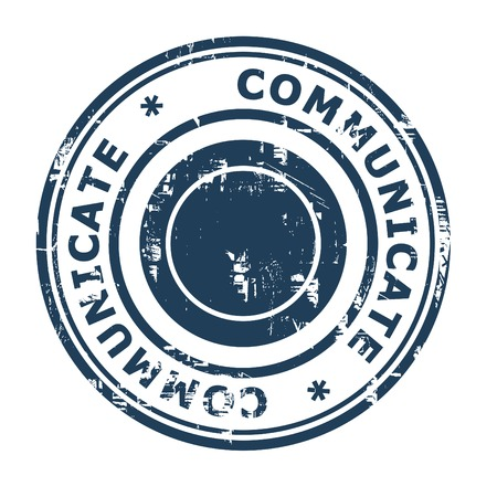 ethos: Communicate business concept rubber stamp isolated on a white background.