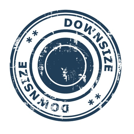 downsize: Downsize business concept rubber stamp isolated on a white background. Stock Photo