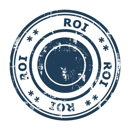 ethos: ROI business concept rubber stamp isolated on a white background. Stock Photo