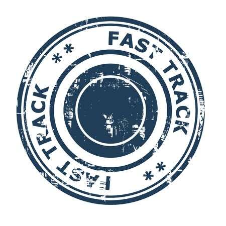 ethos: Fast track business concept rubber stamp isolated on a white background.