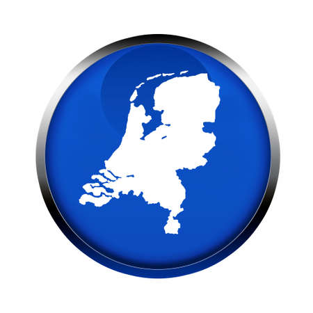netherlands map: Netherlands map button in the colors of the European Union. Stock Photo