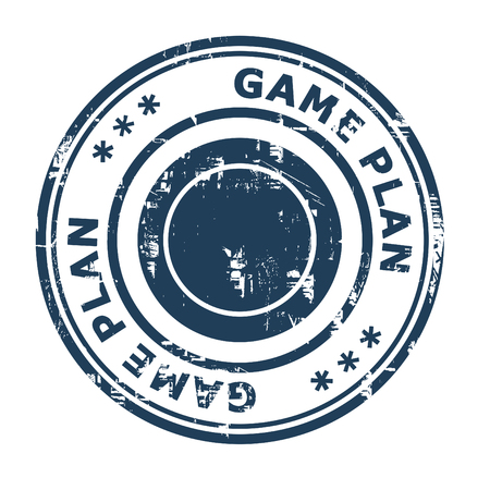 ethos: Game Plan business concept rubber stamp isolated on a white background. Stock Photo
