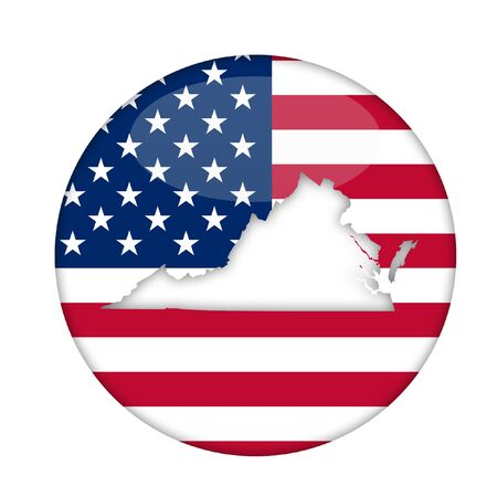 3d virginia: Virginia state of America badge isolated on a white background.