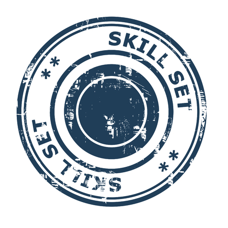 ethos: Skill set business concept rubber stamp isolated on a white background.