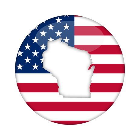 wisconsin state: Wisconsin state of America badge isolated on a white background.