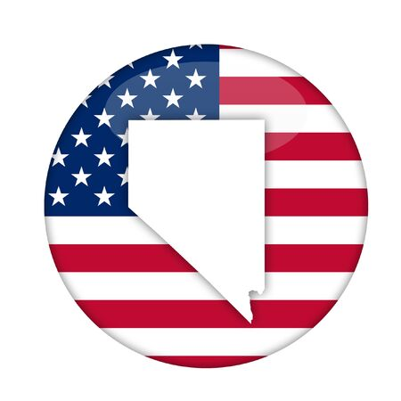 nevada: Nevada state of America badge isolated on a white background. Stock Photo