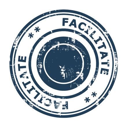 facilitate: Facilitate business concept rubber stamp isolated on a white background.